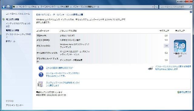 Windowsエクスペリエンスの結果画面