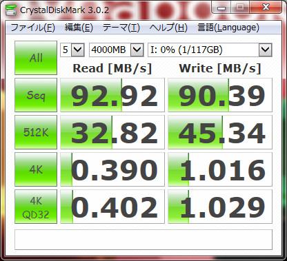 CG-HDC2EUS31-Wに搭載したHDP725050GLA360をesataで接続したCrystalDiskMarkの計測結果(4000MB)