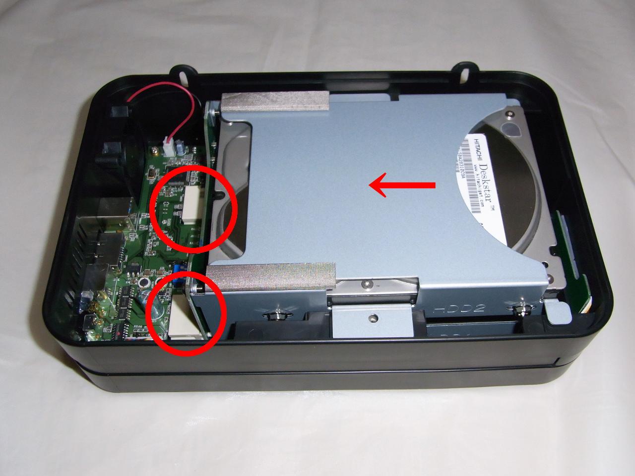 CG-HDC2EUS31-WのHDDトレイとコネクタを接続